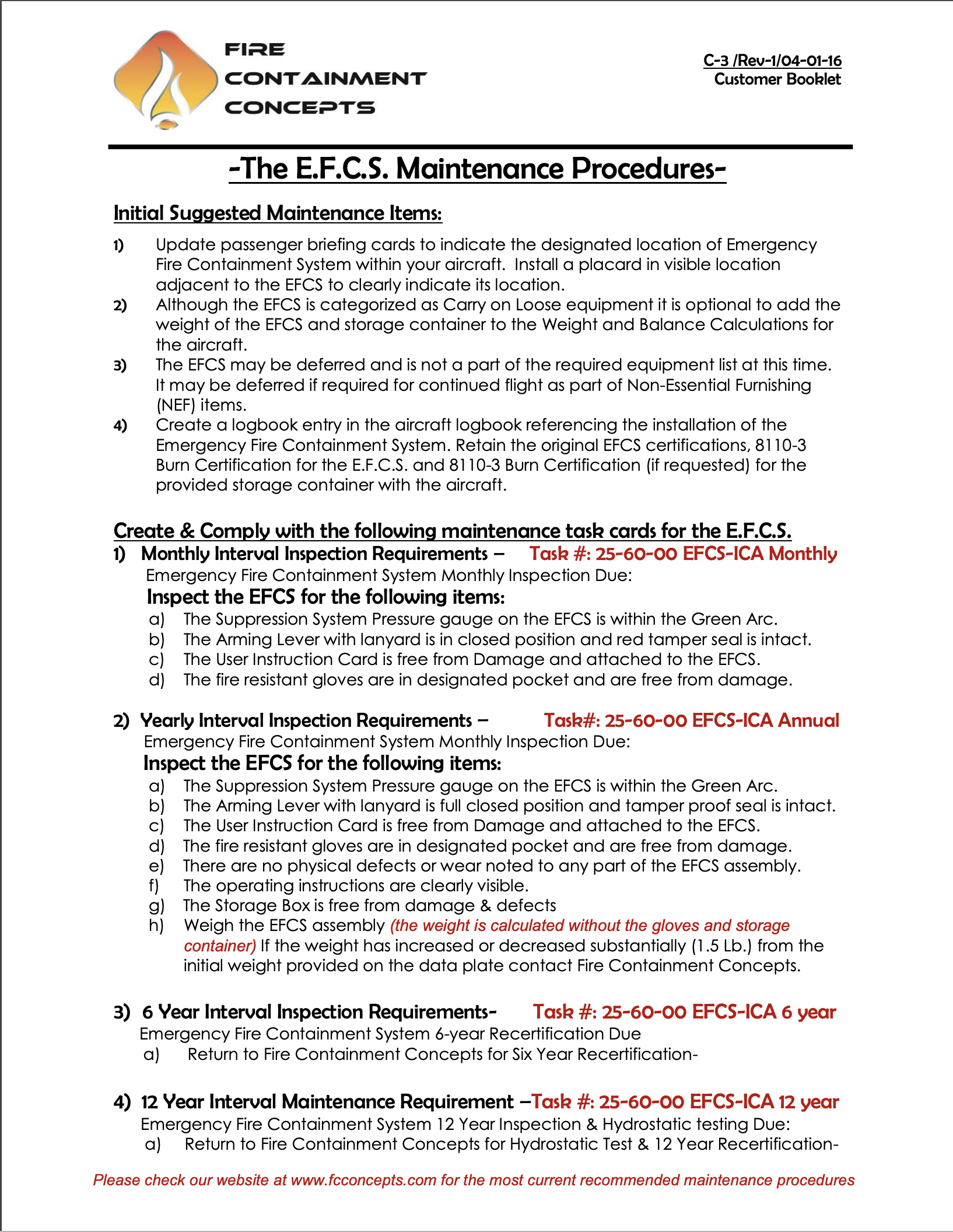 Customer Booklet (C-3) Rev 4 Maintenance procedures