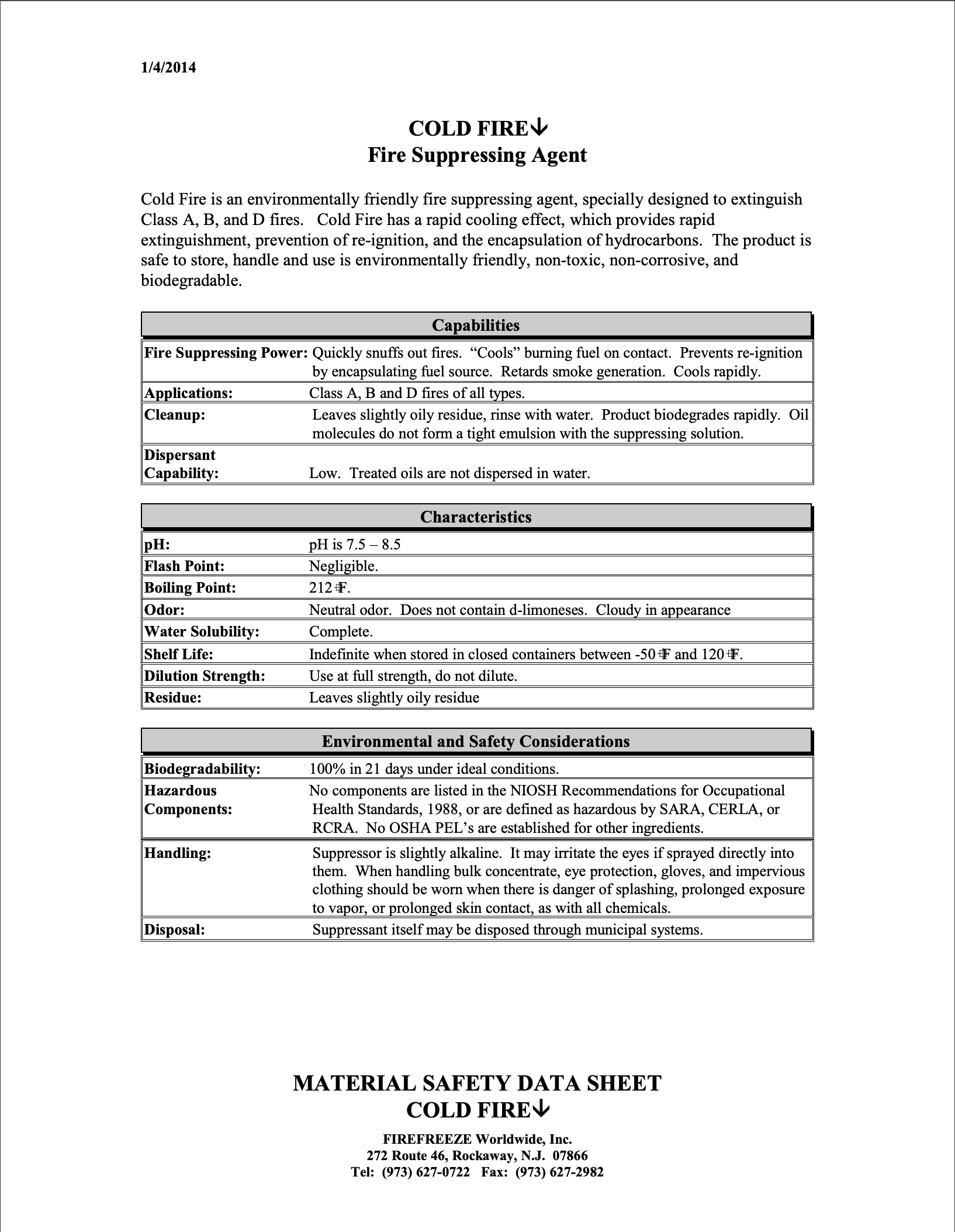 Customer Booklet (C-9-11)Cold Fire AS MSDS