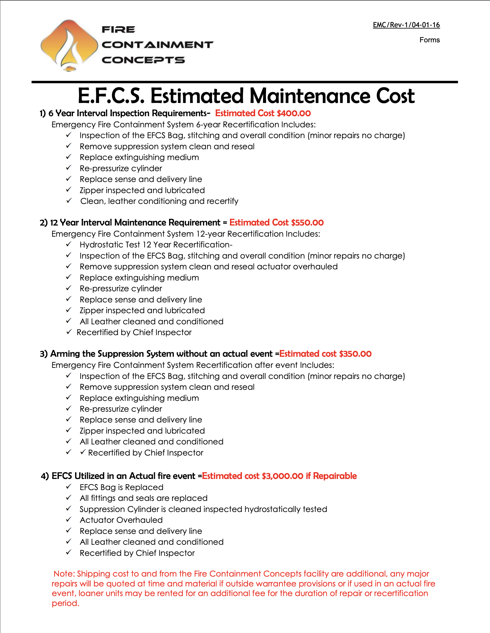 EFCS Estimated Maintenance Cost